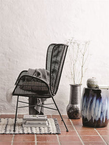 Woven Rattan & Wrought Iron Chair, Black