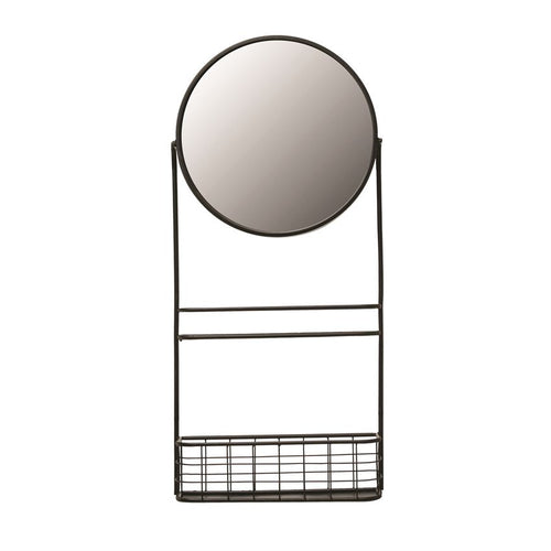 Metal Wall Mirror w/ Shelf & Basket, Black