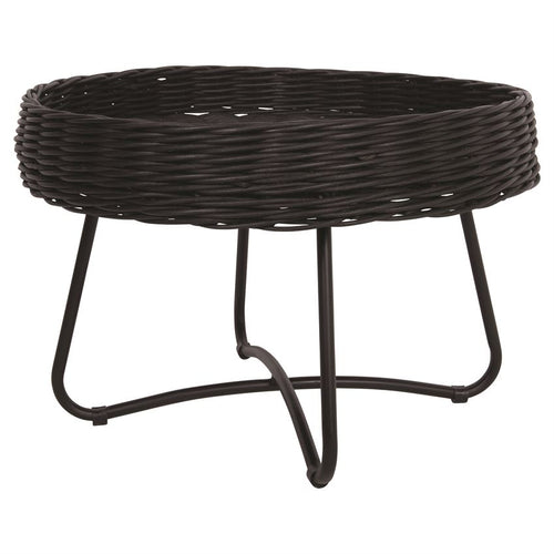 Hand-Woven Rattan Table w/ Metal Legs, Black