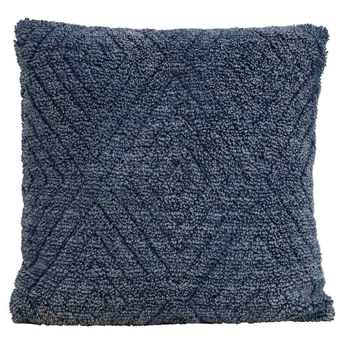 Square Stonewashed Cotton Chenille Pillow, Blue