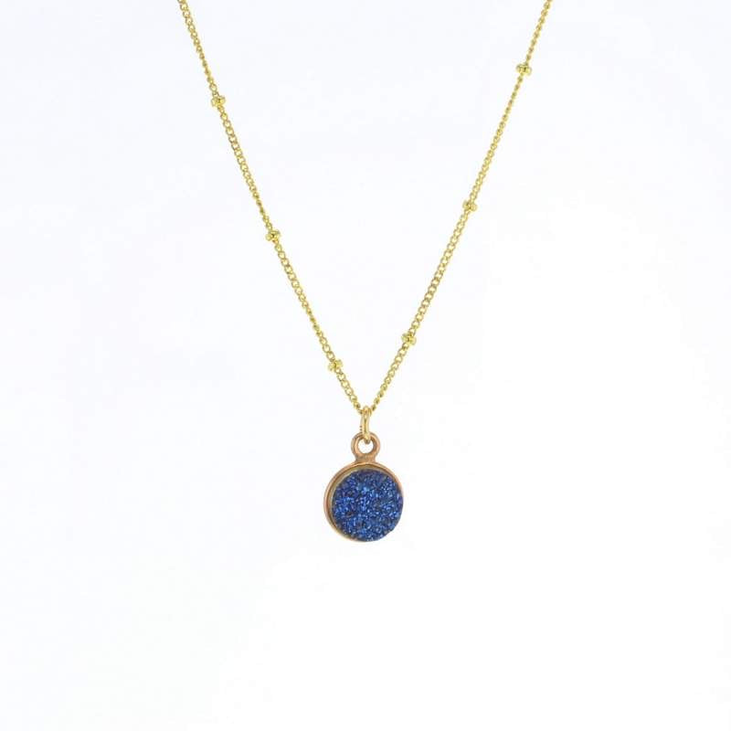 Luster Blue Druzy Necklace Gold