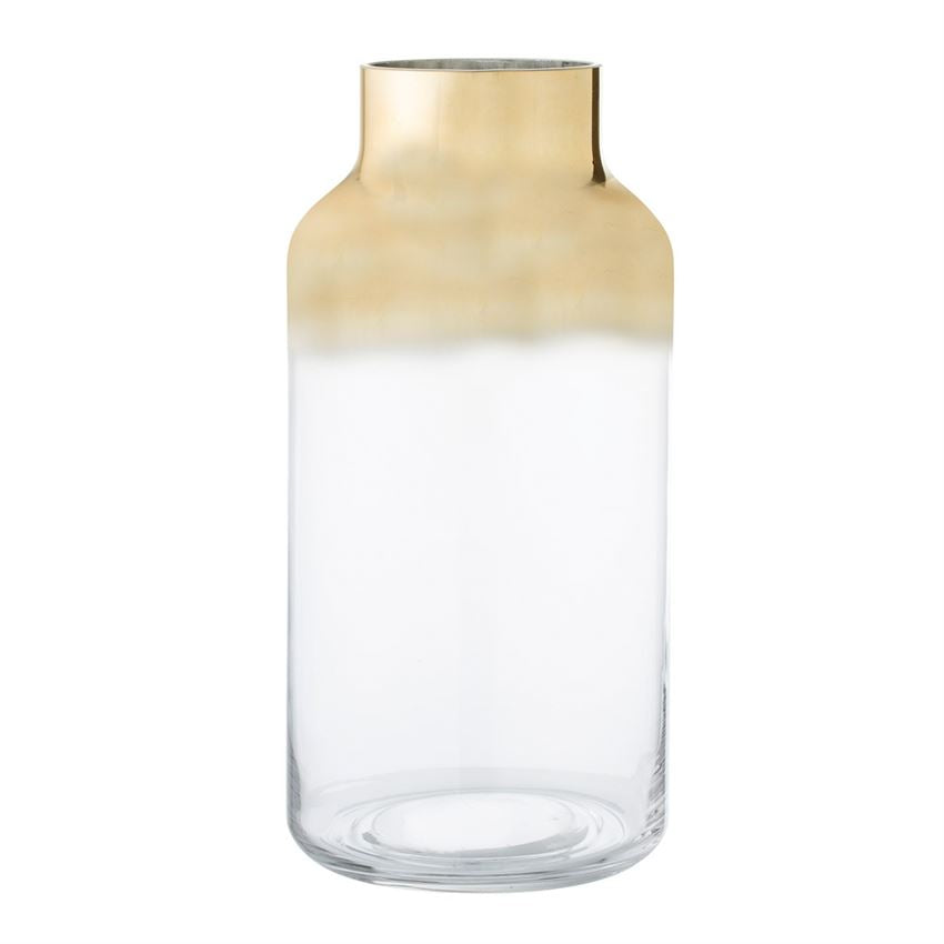 Glass Vase with Clear & Gold Finish