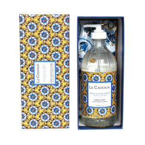 Le Cadeaux Hand Wash with Matching Tea Towel, Fresh Sicilian Lemon