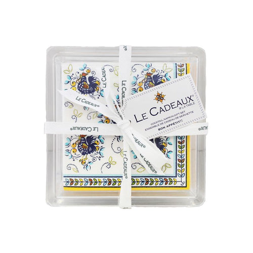 Le Cadeaux Florence Patterned Paper Cocktail Napkins Gift Set