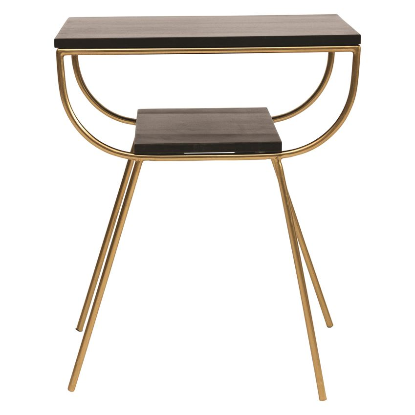 Metal & Mango Wood Table w/ Shelf, Black & Gold Finish