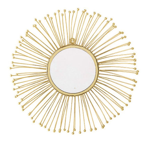 Metal Sunburst Wall Mirror, Gold Finish