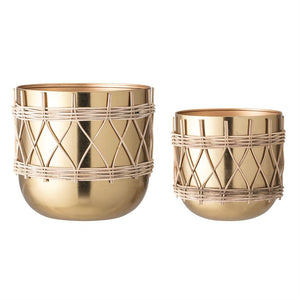 Round Metal Planters w/ Woven Rattan & Gold Electroplating, Set of 2