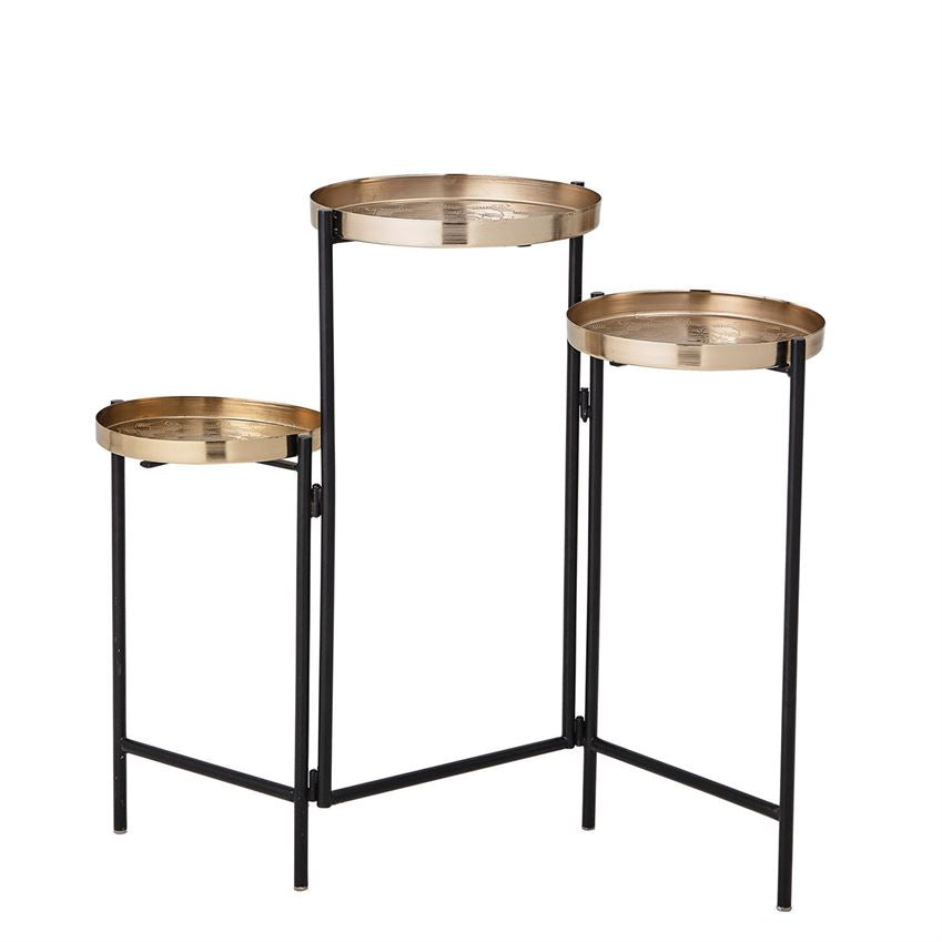 Foldable Table/Plant Stand with 3 Trays, Black & Brass Finish