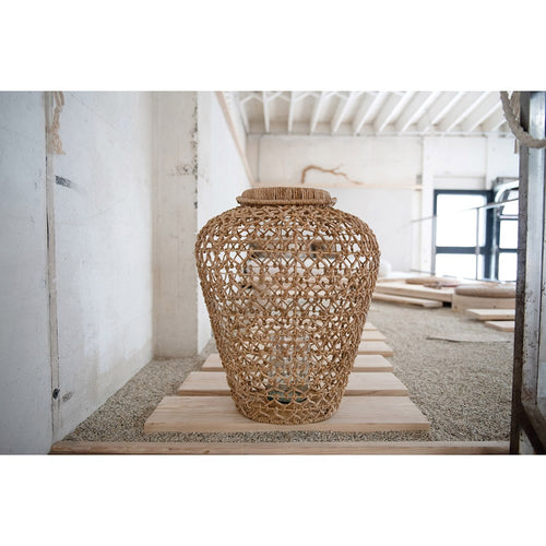 Hand-Woven Water Hyacinth & Rattan Lantern w/ Glass Insert & Handle