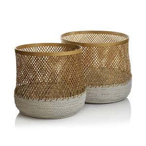 Andes Bamboo and Raffia Baskets - Set of 2