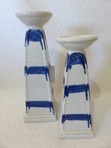 White and Blue Candle Holder