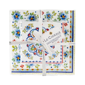Le Cadeaux Madrid White Patterned Paper Cocktail & Dinner Napkins Gift Set