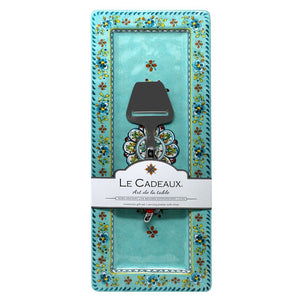 Le Cadeaux Madrid Turquoise Rectangle Platter with Cheese Utensil