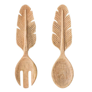 Hand-Carved Mango Wood Salad Servers w/ Feather Handle, Set of 2
