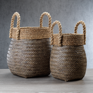 Isola Rattan Basket with Jute Rope Handle - Large