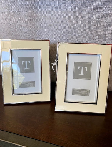 Silver/Cream Picture Frames 4x6, Set of 2