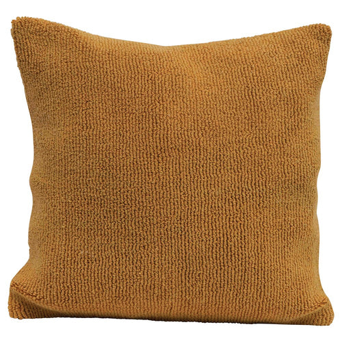 Square Cotton Terry Cloth Pillow, Mustard