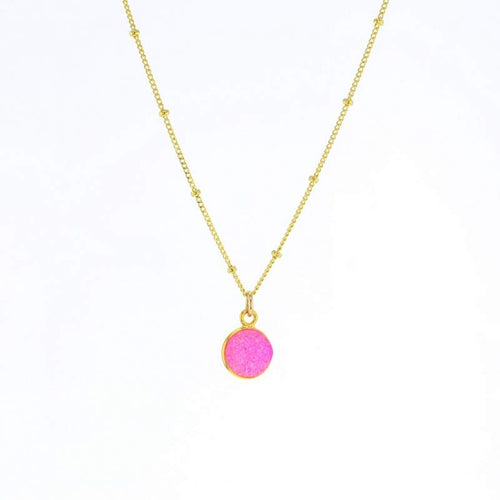 Luster Pink Druzy Necklace