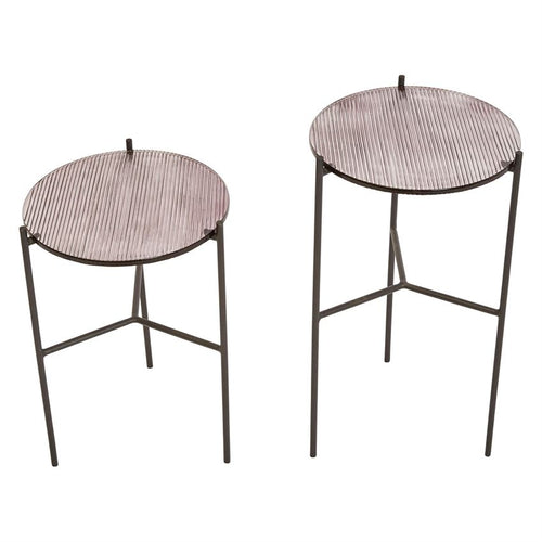 Metal Plant Stands/Tables w/ Glass Tops, Plum, Set of 2