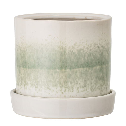 Stoneware Flower Pot w/ Saucer, Green Reactive Glaze