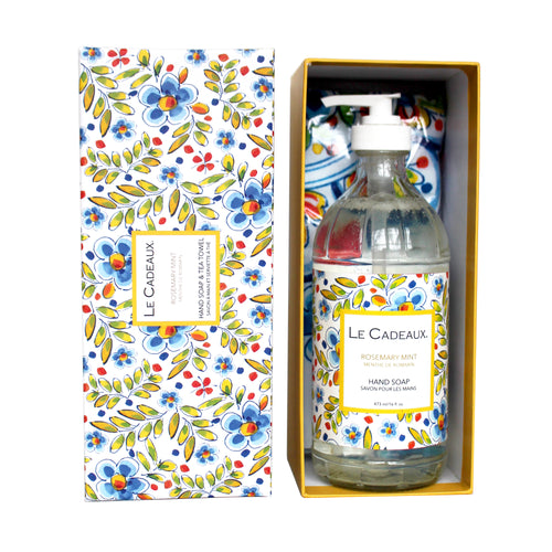 Le Cadeaux Hand Wash with Matching Tea Towel, Rosemary Mint