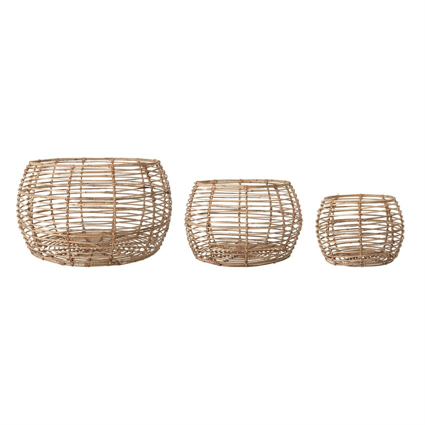 Natural Rattan Table/Baskets, Set of 3