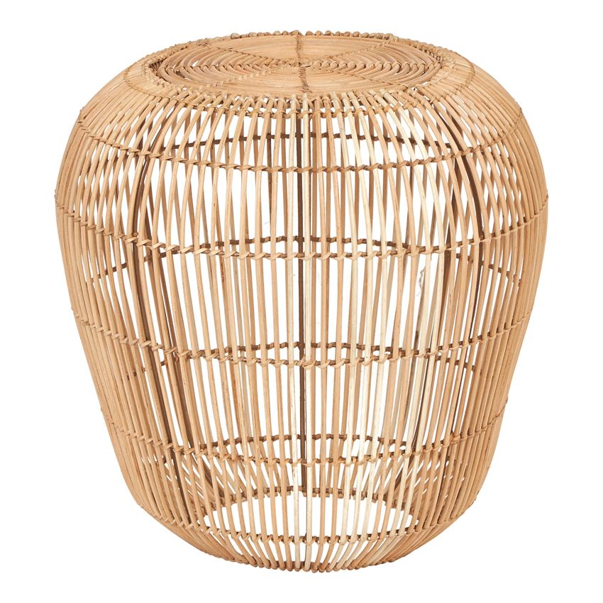 Hand-Woven Rattan & Metal Table, Natural