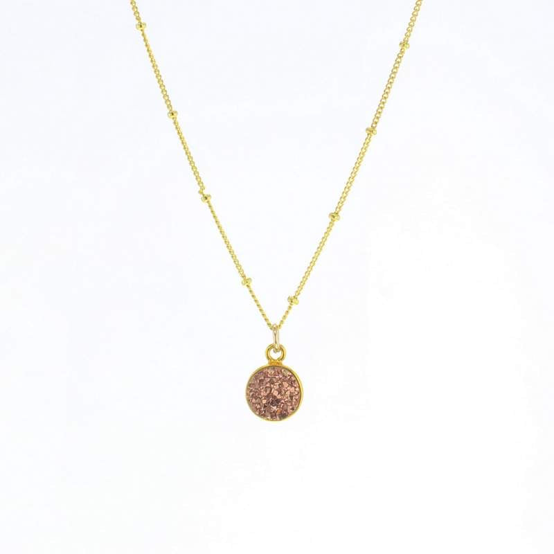 Luster Rose Gold Druzy Necklace