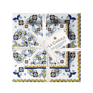 Le Cadeaux Sorrento Patterned Paper Cocktail & Dinner Napkins Gift Set