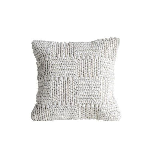 Square Knit Wool Pillow, Cream