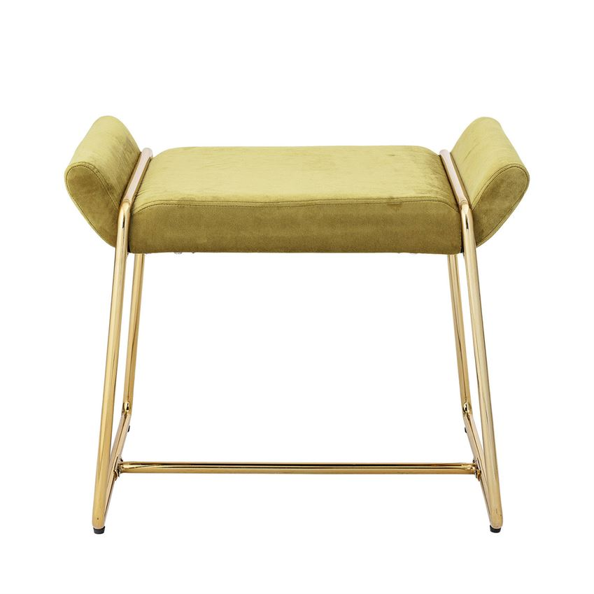 Metal & Fabric Upholstered Stool w/ Gold Finish Legs, Chartreuse