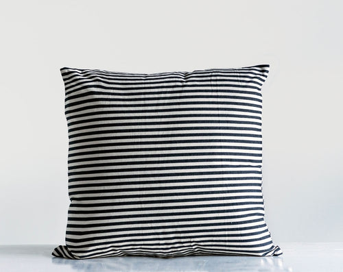 Square Cotton Striped Pillow, Black