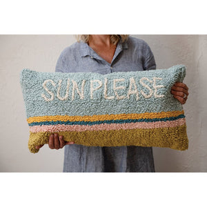 Woven Cotton Punch Hook Lumbar Pillow, Sun Please