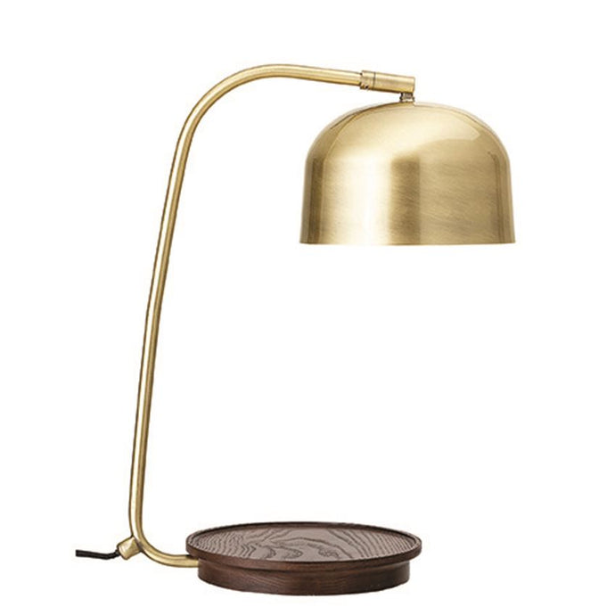 Metal Table Lamp w/ Wood Base & In-Line Switch, Brass Finish (40 Watt Max)