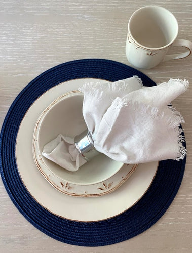 Navy Placemats & Chrome Napkin Rings, Set of 6