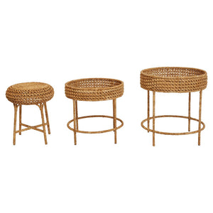 Woven Water Hyacinth & Rattan Tables