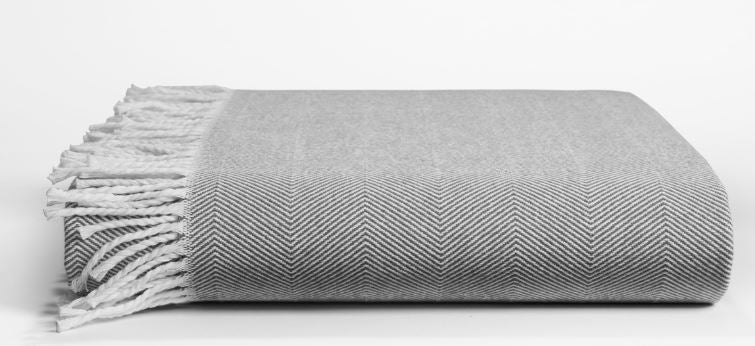 Herringbone Fringed Throw Gray