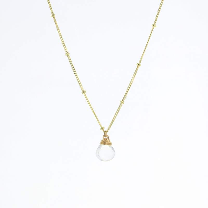 Gold Trinket Clear Quartz Stone Necklace