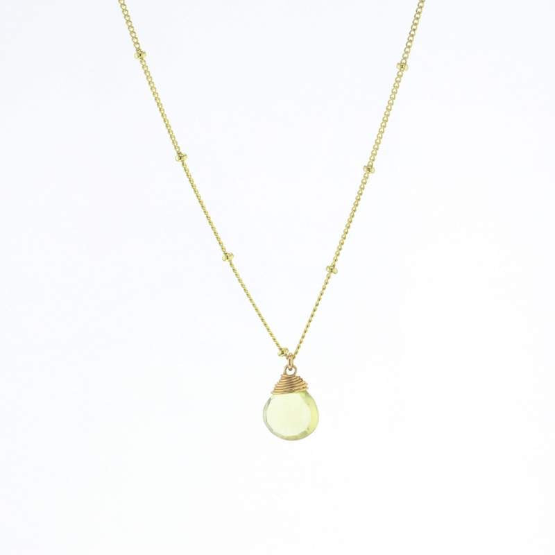 Gold Trinket Lemon Quartz Stone Necklace