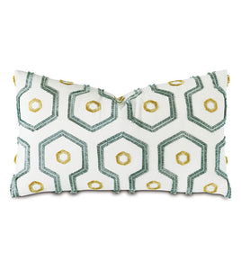 Twin Palms Embroidered Decorative Pillow 15x26