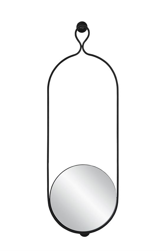 Metal Wall Mirror, Matte Black Finish