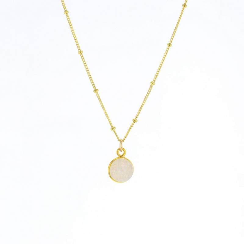 Luster White Druzy Necklace