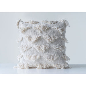 Square Cotton Woven Pillow w/ Eyelash Fringe
