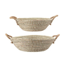 Woven Seagrass Baskets w/ Handles in White & Natural, Set of 2