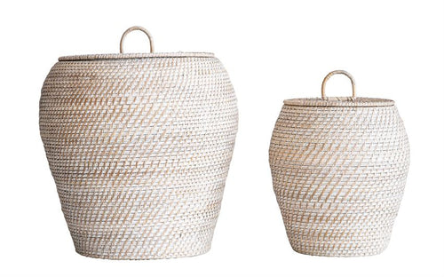 Natural Rattan Baskets w/ Lid, Whitewashed, Set of 2