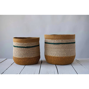Hand-Woven Natural Seagrass Striped Baskets