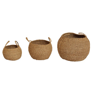 Hand-Woven Seagrass Baskets w/ Handles, Set of 3
