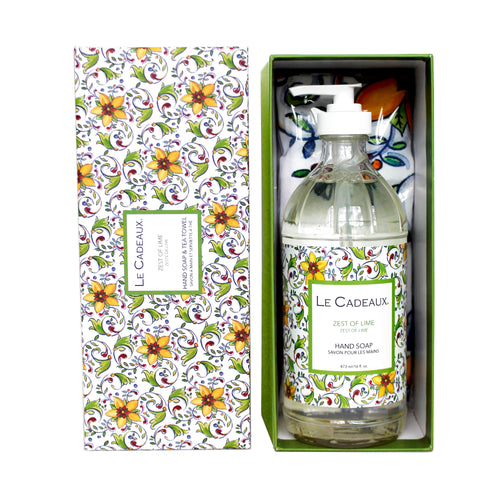 Le Cadeaux Hand Wash with Matching Tea Towel, Zest of Lime