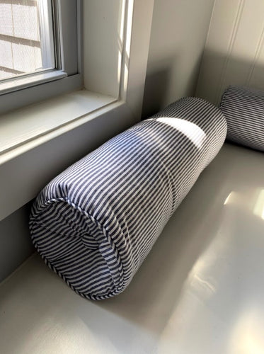 Striped Bolster Gray Pillows, Set of 4