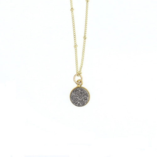 Luster Silver Druzy Necklace Gold